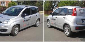 Reklama na samochodzie dla firmy Korlab Ruda Śląska